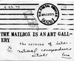 """The Mailbox is an Art Gallery"" postcard announcement for mail art show at Old Venice Jail"