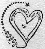 "graphic from business card of photographer Rodrick Bradley, early 1980s, heart with words ""neither master nor slave"""